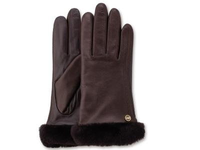 Leather Glove Metallic Chocolate